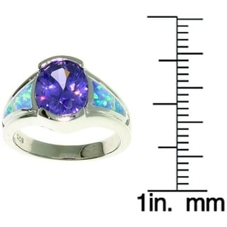 Carolina Glamour Collection Sterling Silver Opal and Large Oval CZ Ring