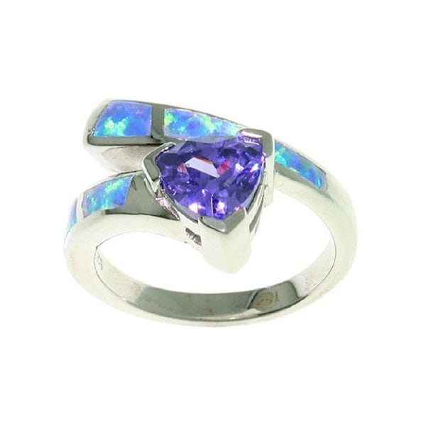 Sterling Silver Opal and Purple CZ Glamorous Ring