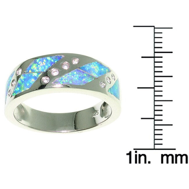Carolina Glamour Collection Sterling Silver Opal and CZ Design Ring