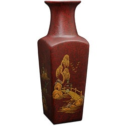Red Crackle Square Vase (China)