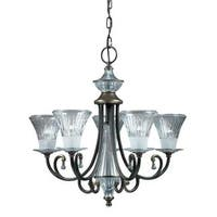 Olde Bronze 5-light Chandelier with Cut Glass Shades