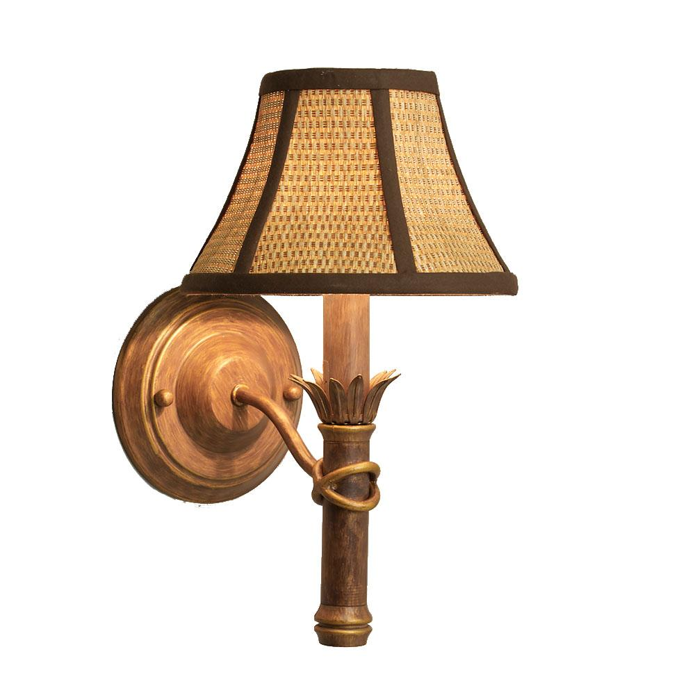 Island gold wall sconce with wicker shade
