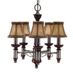Burgundy/ Antique Nickel 5-light Chandelier - Thumbnail 2