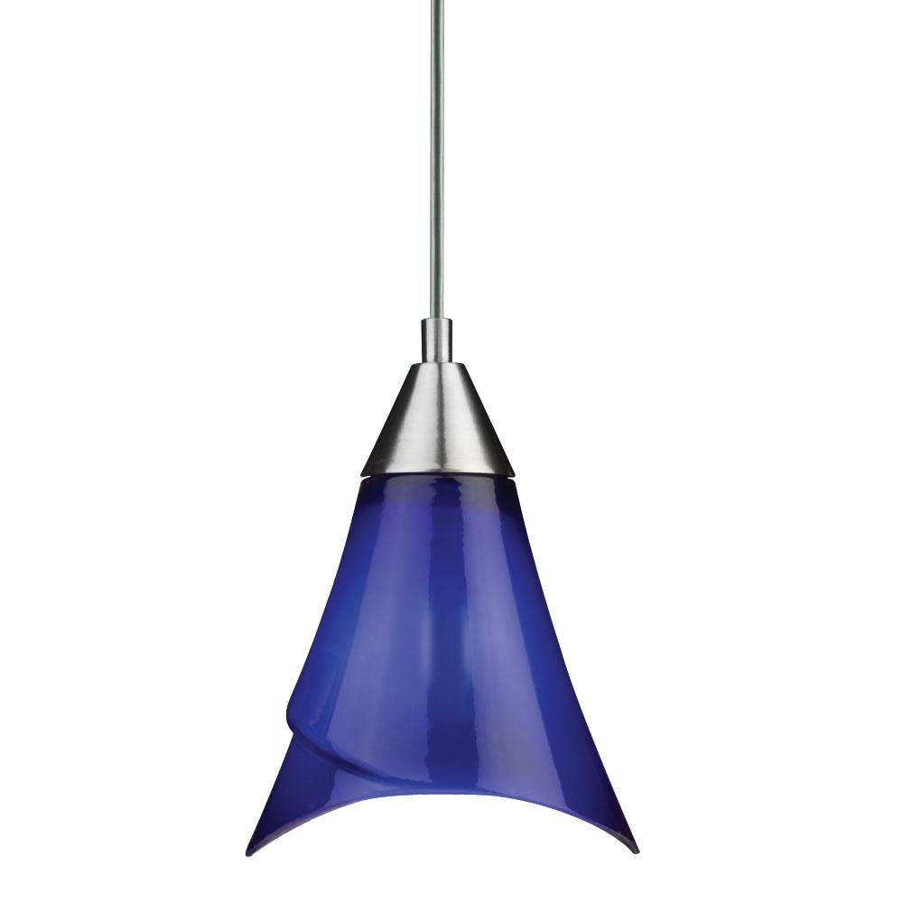 Brushed Nickel Blue Glass Mini Pendant Light - Thumbnail 0