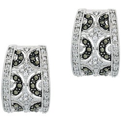 Glitzy Rocks Sterling Silver Marcasite and CZ Hoop Earrings