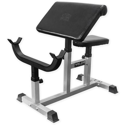 Valor Fitness CB-6 Adjustable Preacher Curl Bench for Bicep Curl Support Meant for Curling with EZ Curl Bar (Sold Separately)