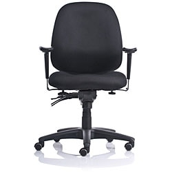 Black Ergo Fabric Mid-back Task Chair with Contoured Molded Foam Seat - Thumbnail 1