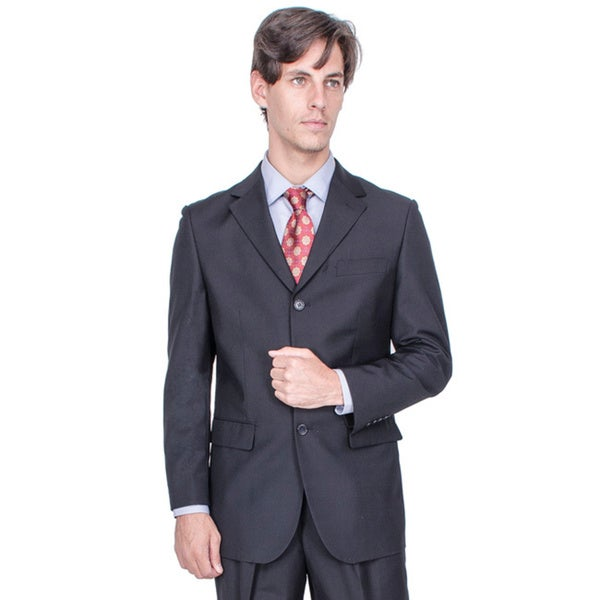 Men's Black 3-button Suit - Free Shipping Today - Overstock.com ...