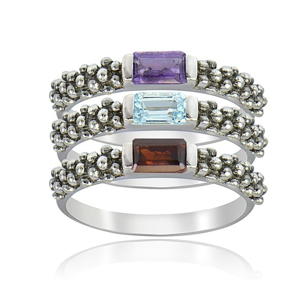 Glitzy Rocks Sterling Silver Multigemstone Stackable Rings