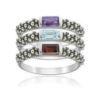 Glitzy Rocks Sterling Silver Multigemstone Stackable Rings