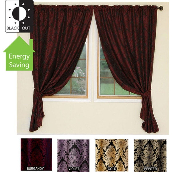Damask Jacquard Insulated Blackout 84-inch Curtains - 11353490 ...