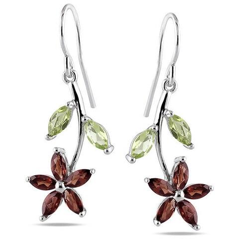 Miadora Sterling Silver Multi-gemstone Flower Earrings