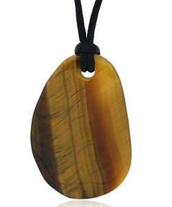 Glitzy Rocks Tiger's Eye Pendant with Black Silk Cord