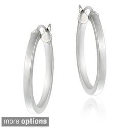 Mondevio Polished Sterling Silver 25mm Hoop Earrings