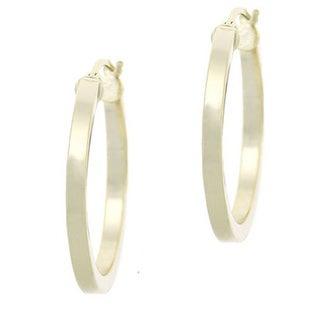 Mondevio Polished Sterling Silver 25mm Hoop Earrings