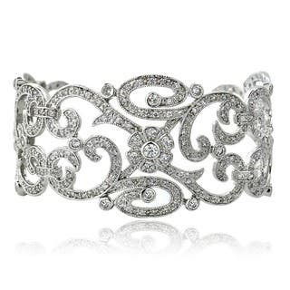 Icz Stonez Sterling Silver or Gold over Silver Cubic Zirconia Swirl Cuff Bracelet|https://ak1.ostkcdn.com/images/products/3248707/P11357157.jpg?impolicy=medium