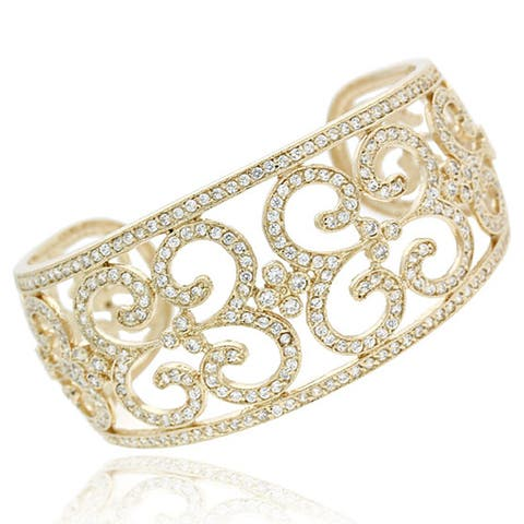 Icz Stonez 18k Gold over Sterling Silver CZ Swirl Cuff Bangle