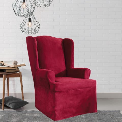 Sure Fit Soft Suede Wing Chair Slipcover