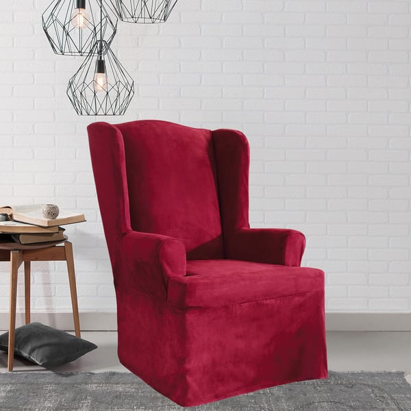 Surprising Shop Sure Fit Stretch Suede Wing Chair Slipcover Free Gmtry Best Dining Table And Chair Ideas Images Gmtryco