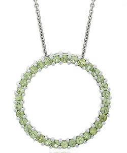 Glitzy Rocks Sterling Silver Peridot Circle Necklace