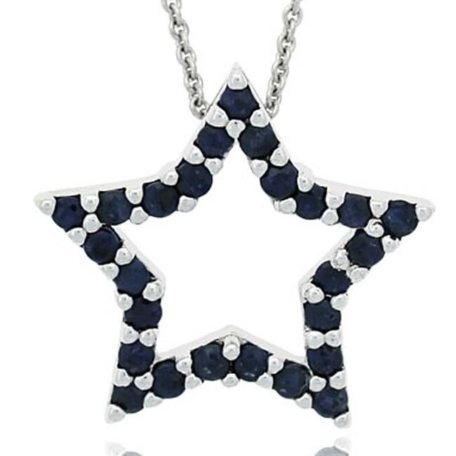 Glitzy Rocks Sterling Silver Sapphire Star Necklace