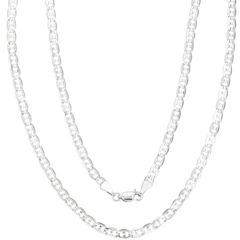 "4mm Silver Overlay Mariner Chain by Simon Frank Designs (18""-30"")"