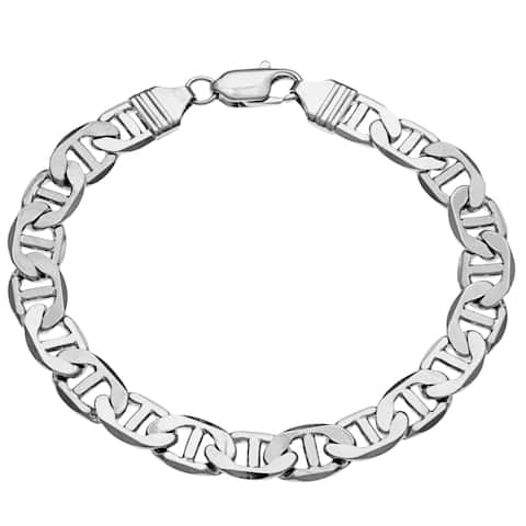 8-mm Silver Overlay Mariner-style Bracelet (8-Inch) by Simon Frank Designs