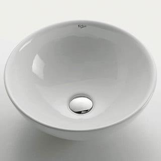 KRAUS Soft Round Ceramic Vessel Bathroom Sink in White with Pop-Up Drain in Chrome