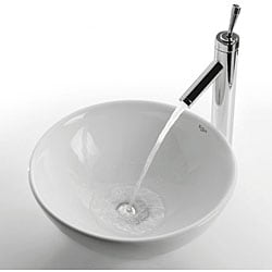 KRAUS Soft Round Ceramic Vessel Bathroom Sink in White with Pop-Up Drain in Chrome