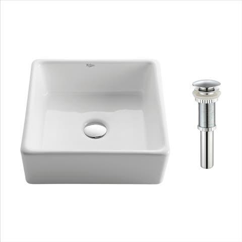 Kraus KCV-120 Elavo 15 Inch Square Vessel Porcelain Ceramic Vitreous Bathroom Sink in White, Pop Up Drain optional