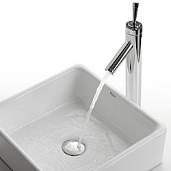Kraus White Square Ceramic Vessel Sink