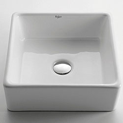KRAUS Square Ceramic Vessel Bathroom Sink in White with Pop-Up Drain in Chrome