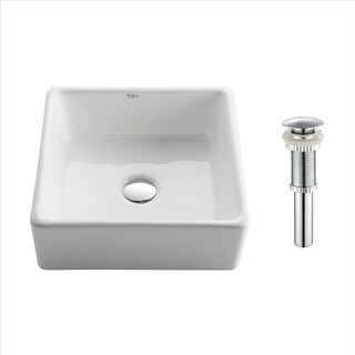 Kraus KCV-120 Elavo 15 Inch Square Vessel Porcelain Ceramic Vitreous Bathroom Sink in White with Pop Up Drain Chrome
