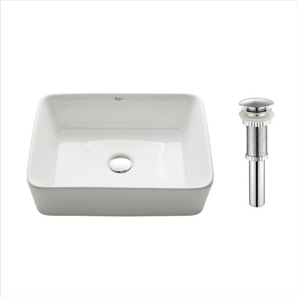 Kraus KCV-121 Elavo 19 Inch Rectangle Vessel Porcelain Ceramic Vitreous Bathroom Sink in White, Pop Up Drain optional