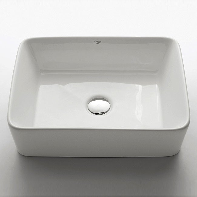 KRAUS Rectangular Ceramic Vessel Bathroom Sink in White with Pop-Up Drain in Chrome