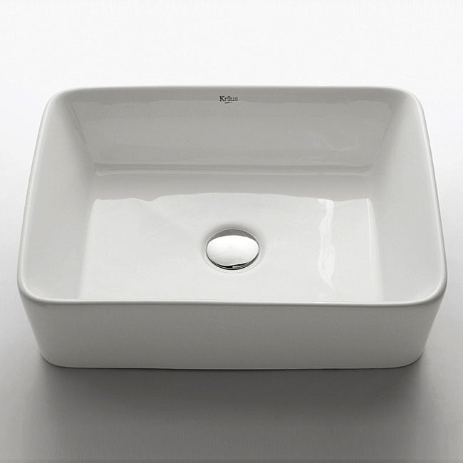 Kraus White Ceramic Rectangular Vessel Bathroom Sink with Chrome Pop-up Drain