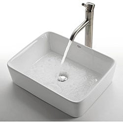 KRAUS Rectangular Ceramic Vessel Bathroom Sink in White with Pop-Up Drain in Chrome - Thumbnail 1