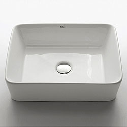 Kraus White Ceramic Rectangular Vessel Bathroom Sink with Chrome Pop-up Drain - Thumbnail 0
