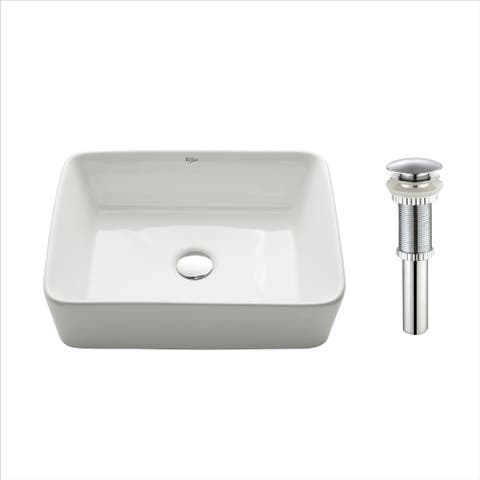 Kraus KCV-121 Elavo 19 Inch Rectangle Vessel Porcelain Ceramic Vitreous Bathroom Sink in White, Pop Up Drain optional