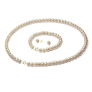 DaVonna 14k Gold FW Pearl Necklace Bracelet and Earring Set (6-6.5 mm)(Case of 3)