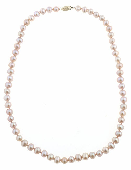 DaVonna 14k Gold Pink FW Pearl 18-inch Necklace (6.5-7 mm) (Set of 3)