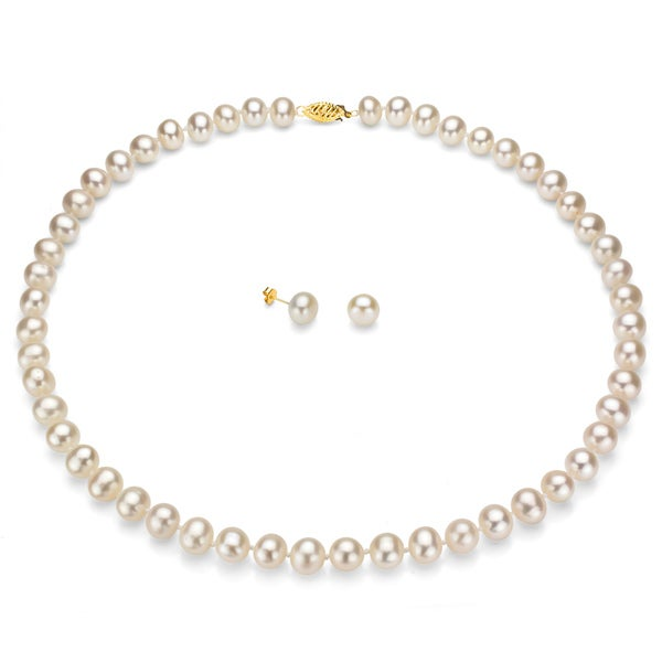 DaVonna 14k Gold Freshwater Pearl Necklace and Earring Set (8-9 mm, Case of 3). Opens flyout.