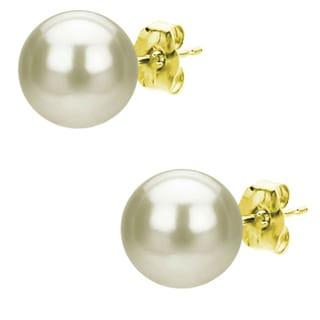 DaVonna 14k Gold White Akoya Pearl Stud Earrings (8.5-9 mm )(Case of 4)