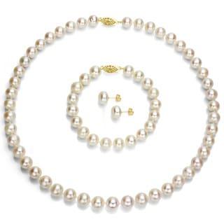 DaVonna 14k Gold Freshwater Pearl 3-piece Set with Plush Box (Set of 3) - White