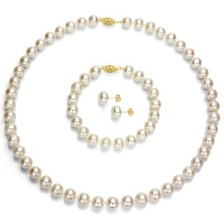 DaVonna 14k Gold Freshwater Pearl 3-piece Set with Plush Box (Set of 3) - White