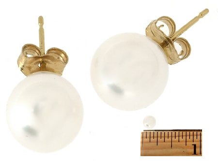 DaVonna 14k Gold Perfect Round Akoya Pearl Stud Earrings (6 mm )(Case of 5)