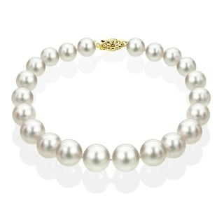 DaVonna 14k Gold White Akoya Cultured Pearl Bracelet (6.5-7 mm)(Set of 3)