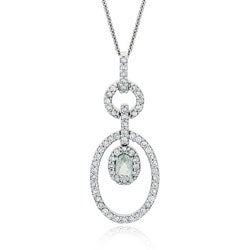 Glitzy Rocks Sterling Silver Green Amethyst and CZ Necklace
