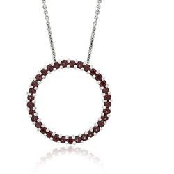 Glitzy Rocks Sterling Silver Garnet Circle Necklace