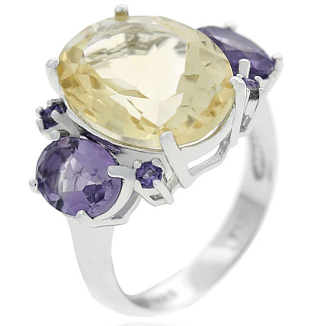 Glitzy Rocks Sterling Silver Citrine and Amethyst Cocktail Ring